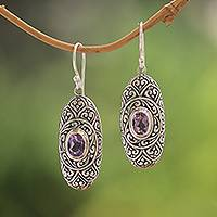 Amethyst dangle earrings, 'My Protector in Purple' - Amethyst and Sterling Silver Dangle Earrings from Bali