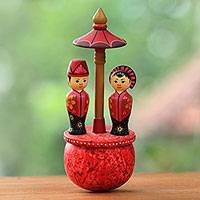 Wood figurine, 'Payung Manten' - Cultural Wood Figurine of a Newlywed Couple from Java