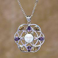 Amethyst and citrine pendant necklace, 'Matahari' - Amethyst and Citrine Pendant Necklace from Bali