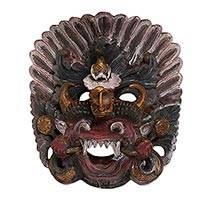 Wood mask, 'Barong' - Carved Wood Cultural Mask
