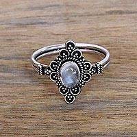Moonstone cocktail ring, 'Daydream Temple' - Handcrafted Moonstone Cocktail Ring from Bali
