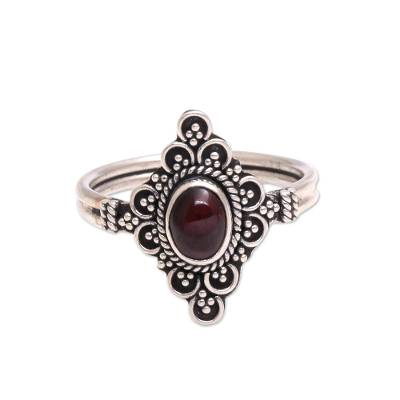 Garnet cocktail ring, 'Daydream Temple' - Handcrafted Garnet Cocktail Ring from Bali