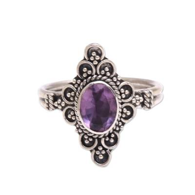 Handcrafted Faceted Amethyst Cocktail Ring from Bali