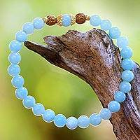 Gold accented amazonite beaded stretch bracelet, 'Batuan Tune' - Gold Accented Amazonite Beaded Stretch Bracelet from Bali