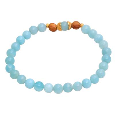 Gold Accented Amazonite Beaded Stretch Bracelet from Bali