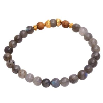 Gold accented labradorite beaded stretch bracelet, 'Batuan Hatmony' - Gold Accented Labradorite Beaded Stretch Bracelet from Bali