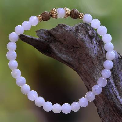 Moonstone beaded stretch bracelet, 'Batuan Tune' - Moonstone and Gold Plated Silver Beaded Stretch Bracelet