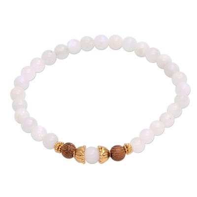 Moonstone beaded stretch bracelet, 'Batuan Tune' - Moonstone and Gold Plated Silver Beaded Stretch Bracelet