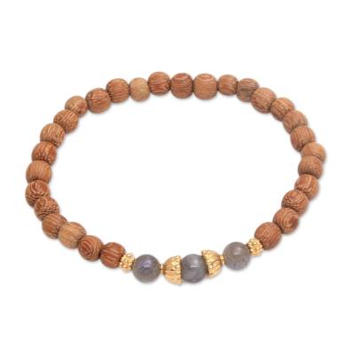 Gold accent wood and labradorite beaded stretch bracelet, 'Batuan Harmony' - Coconut Wood and Labradorite Beaded Stretch Bracelet