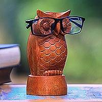 Wood eyeglasses holder, 'Wise Owl' - Owl-Shaped Jempinis Wood Eyeglasses Holder from Bali