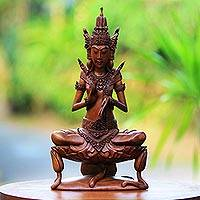 Wood sculpture, 'Indra on Lily' - Wood Sculpture of Hindu God Indra on a Lily from Bali