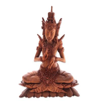 Wood sculpture, 'Indra on Lotus' - Suar Wood Sculpture of Hindu God Indra from Bali