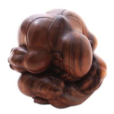 Wood sculpture, 'Meditating Yogi' (7.5 in.) - Suar Wood Yogi Sculpture Hand-Carved in Bali