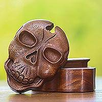 Wood puzzle box, 'Skull Keeper' - Suar Wood Skull Puzzle Box Crafted in Bali