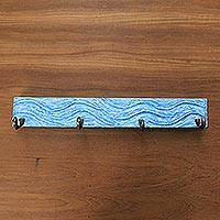 Teakwood coat rack, 'Beach Waves in Blue' - Handcrafted Balinese Blue Teakwood Coat Rack Hanger