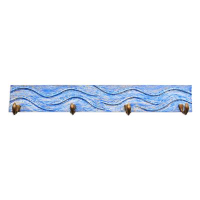 Handcrafted Balinese Blue Teak Wood Coat Rack Hanger