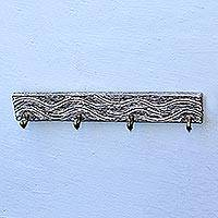 Teak wood coat rack, 'Beach Waves in Black' - Black Teak Wood Coat Rack Hanger Crafted in Bali