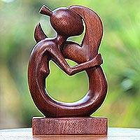 Wood sculpture, 'Serene Mermaid' - Hand-Carved Suar Wood Serene Mermaid Sculpture