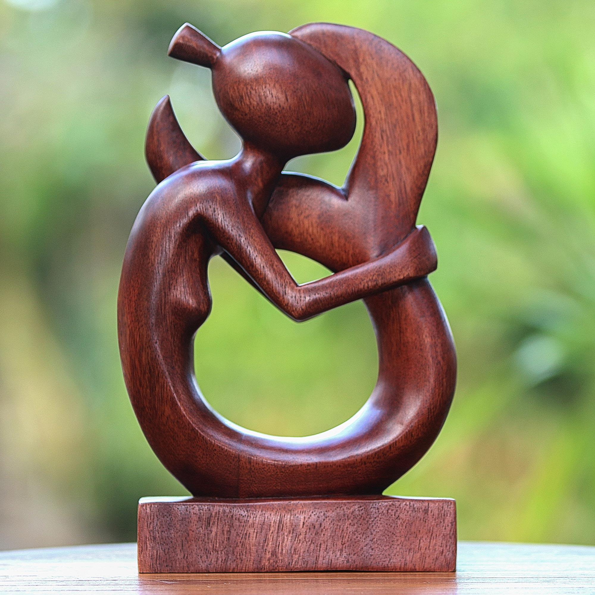 Hand Carved Suar Wood Serene Mermaid Sculpture Serene Mermaid