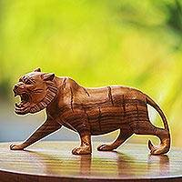Wood sculpture, 'Harimau Roar' - Suar Wood Tiger Sculpture Hand-Carved in Bali