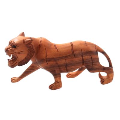 Suar Wood Tiger Sculpture Hand-Carved in Bali