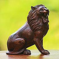 Wood sculpture, 'Jungle King' - Suar Wood Lion Sculpture Hand-Carved in Bali