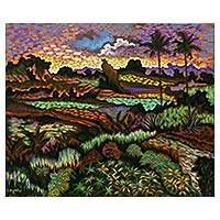 'Landscape in Negari' - Colorful Impressionist Landscape Painting from Bali