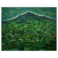 'Landscape in Sukasada, Buleleng' - Impressionist Landscape Painting in Green from Bali