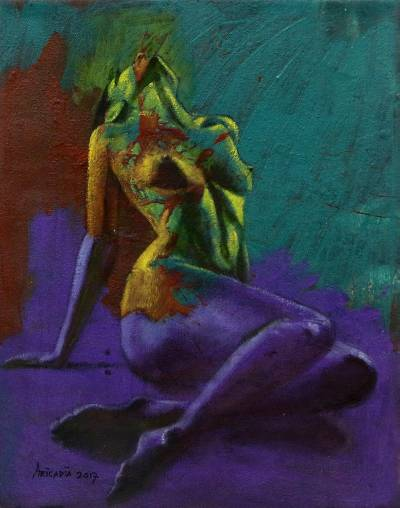 'Truth' - Artistic Nude Female Form Painting from Bali