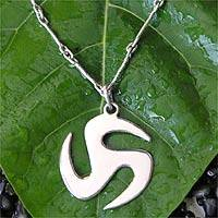 Men's sterling silver necklace, 'Trinity Discus'