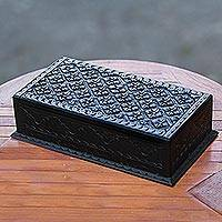 Wood jewelry box, 'Kawung Simplicity'
