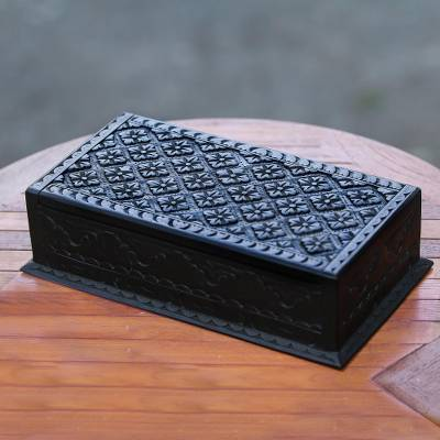 Wood jewelry box, 'Kawung Simplicity' - Hand-Carved Wood Lotus Kawung Jewelry Box Lined in Velvet