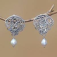 Cultured pearl clip-on earrings, 'Tangled Light' - Cultured Pearl Clip-On Dangle Earrings from Bali