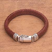 Leather braided wristband bracelet, 'Twining in Brown' - Braided Brown Leather and Sterling Silver Wristband Bracelet