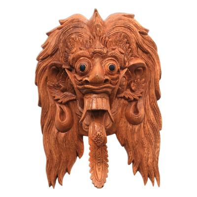 Wood mask, 'Rangda' - Bali Evil Queen Rangda Hand Carved Wood Decorative Wall Mask