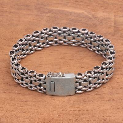 Men's sterling silver link bracelet, 'Celuk Power' - Men's Sterling Silver Link Bracelet from Bali