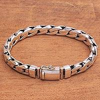 Men's sterling silver link bracelet, 'Power Link' - Men's Handcrafted Sterling Silver Link Bracelet from Bali