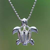 Cultured pearl pendant necklace, 'Graceful Turtle' - Sterling Silver Caged Cultured Pearl Turtle Pendant Necklace