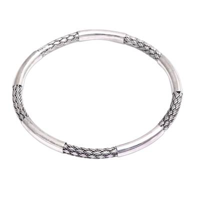 Lightweight Sterling Silver Balinese Weaving Bangle Bracelet