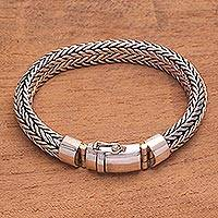 Men's sterling silver chain bracelet, 'Masculine Weaver' - Men's Sterling Silver Naga Chain Bracelet from Bali