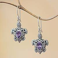 Amethyst dangle earrings, 'Penyu Paradise' - Sterling Silver Amethyst Openwork Sea Turtle Dangle Earrings