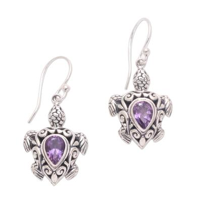 Amethyst dangle earrings, 'Penyu Paradise' - Sterling Silver Amethyst Openwork Sea Turtle Dangle Earrings