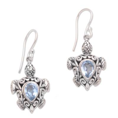 Blue topaz dangle earrings, 'Penyu Paradise' - Sterling Silver Blue Topaz Sea Turtle Dangle Earrings