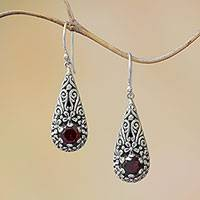 Garnet dangle earrings, 'Hopeful Swirls' - Sterling Silver and Garnet Balinese Plumeria Dangle Earrings