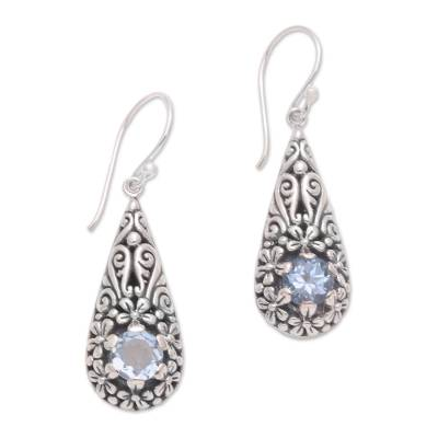 Bali Sterling Silver and Blue Topaz Plumeria Dangle Earrings