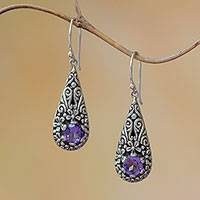 Amethyst dangle earrings, 'Hopeful Swirls' - Amethyst and Sterling Silver Balinese Plumeria Earrings