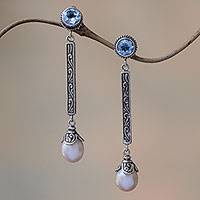 Cultured pearl and blue topaz dangle earrings, 'Mermaid Melody in Blue' - Blue Topaz and Cultured Pearl Elongated Dangle Earrings