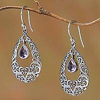 Amethyst dangle earrings, 'Curling Drops' - Amethyst Drop Dangle Earrings from Bali