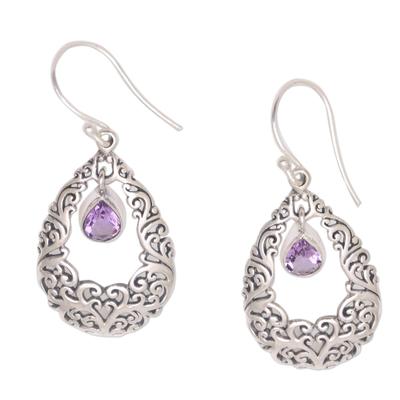 Amethyst dangle earrings, 'Curling Drops' - Amethyst Drop Dangle Earrings from Bali