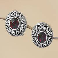 Garnet button earrings, 'Deep Allure' - Sterling Silver Faceted Garnet Button Earrings from Bali